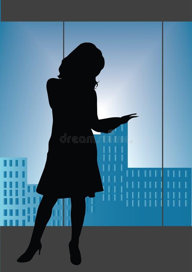 чтение офиса девушки иллюстрация вектора