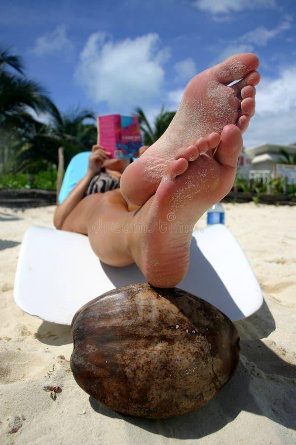 чтение пляжа стоковая фотография rf