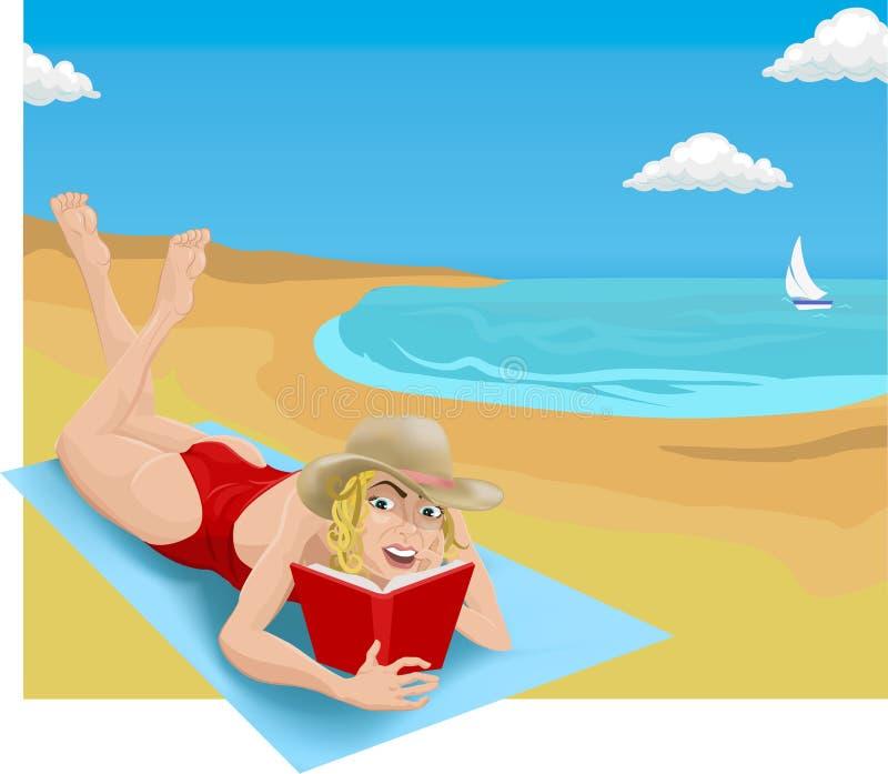 чтение пляжа иллюстрация вектора