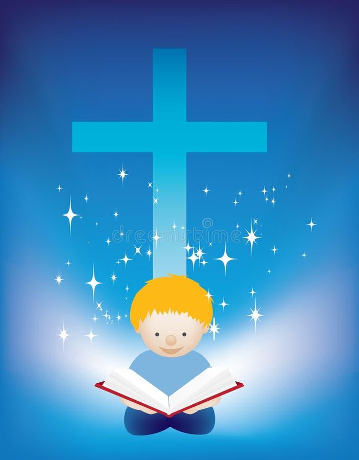 чтение ребенка библии иллюстрация штока