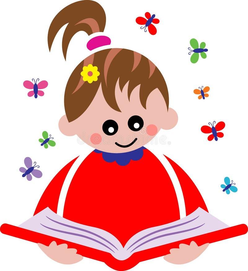 чтение ребенка иллюстрация вектора