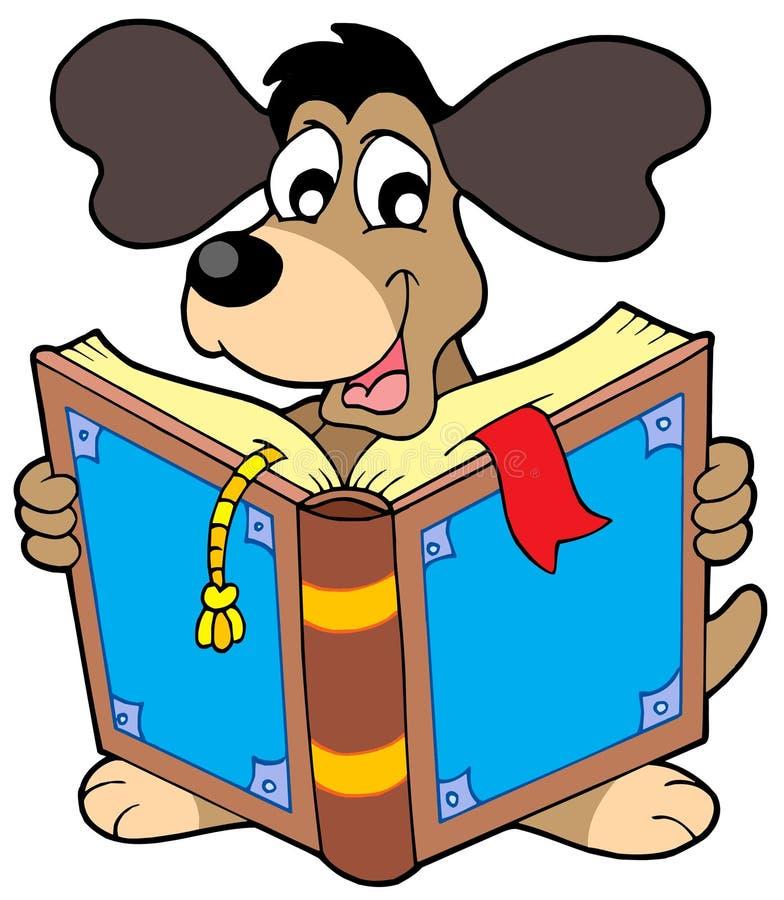 чтение собаки книги иллюстрация штока