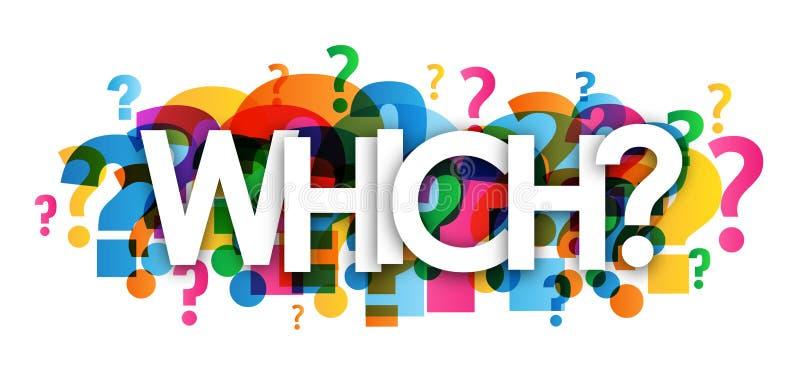 ЧТОЧТО? красочное перекрывая знамя вопросительных знаков иллюстрация штока