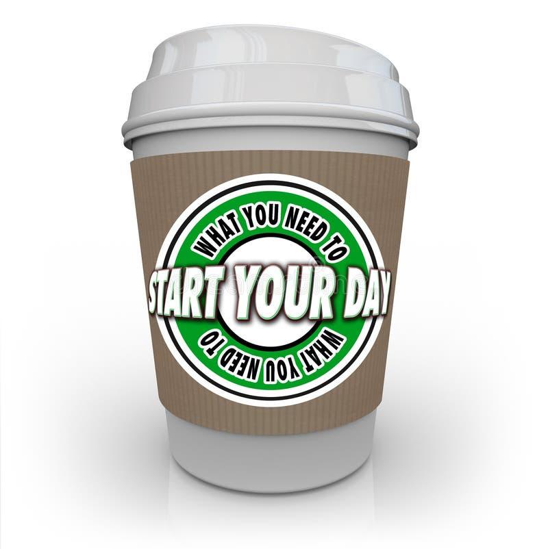 Что вам нужно для того чтобы начать вашу кофейную чашку дня для того чтобы начать горячее питье иллюстрация штока
