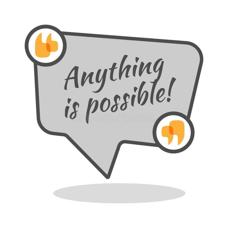 Что-нибудь возможный мотивационный плакат в абстрактной рамке с цитатами иллюстрация вектора