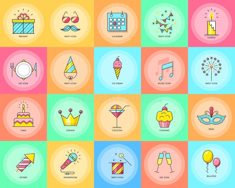 что-нибыдь как кнопки консервирует другие иконы party используемая сеть вектора Иллюстрация вектора торжества бесплатная иллюстрация