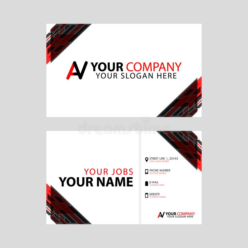 Что-то как новая простая визитная карточка красная чернота с бонусом письма логотипа AV и горизонтальным современным чистым шабло иллюстрация штока