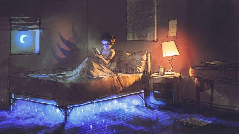Что-то под кроватью иллюстрация вектора