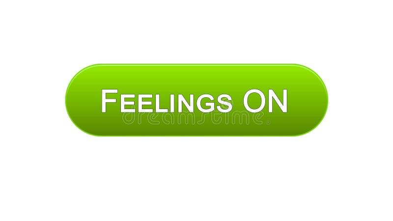 Чувства на интерфейсе сети застегивают зеленый цвет, дизайн интернет-сайта, онлайн иллюстрация штока