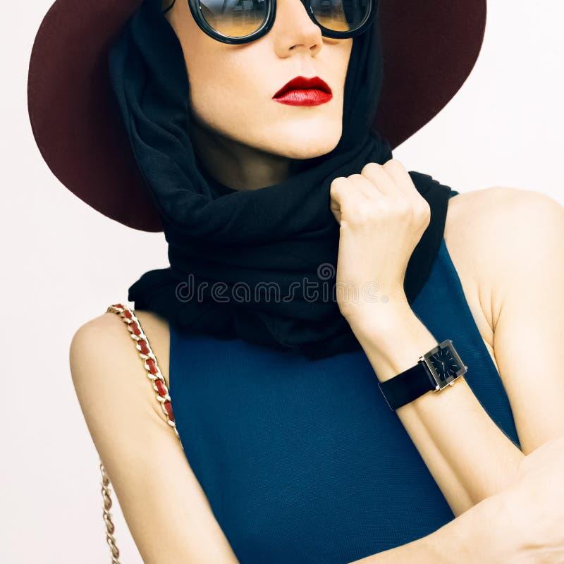 Чувственная дама в аксессуарах моды осени, шарфе, шляпе и sungl стоковое фото