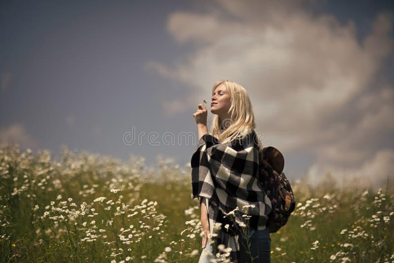 Чувственная женщина в blossoming поле цветка, весне Весна, женщина в поле стоцвета стоковая фотография rf