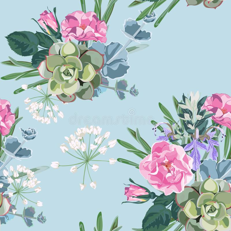 Чувствительная картина цветков роз собаки Розы, травы и succulent Конструируйте для ткани, обоев, оборачивать подарка иллюстрация вектора