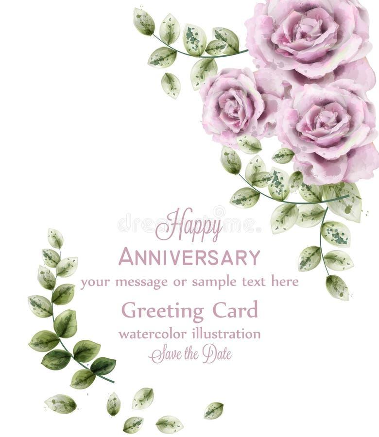 Чувствительная розовая карта годовщины роз вектор Предпосылка акварели флористическая Обои цветков элегантности Винтажные декорат иллюстрация вектора