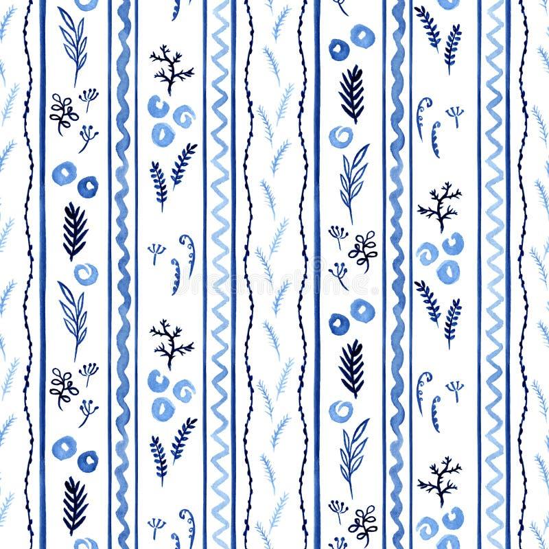 Чувствительная светлая - голубая рука акварели покрасила декоративные элементы с вертикальными линиями - безшовная картина иллюстрация вектора
