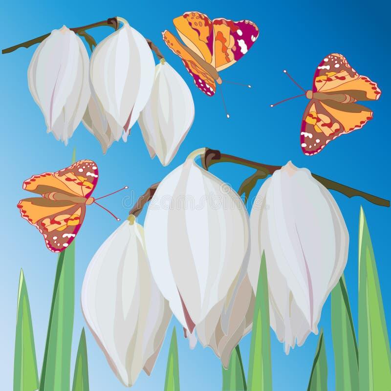 Чувствительные белые цветки юкки и оранжевые бабочки летая против голубого неба бесплатная иллюстрация