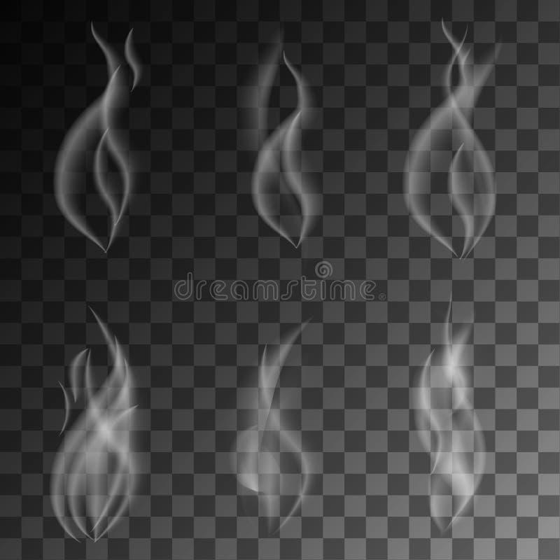 Чувствительный белый дым сигареты развевает на прозрачной иллюстрации предпосылки иллюстрация вектора