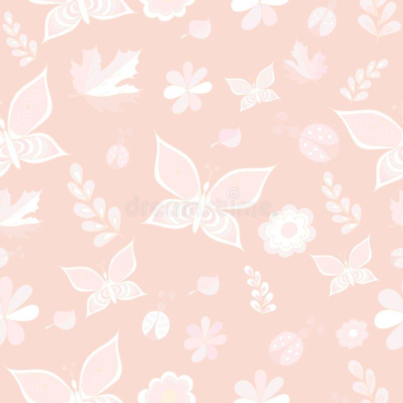 Чувствительные картины розового и белого вектора безшовные повторять текстуру иллюстрация вектора