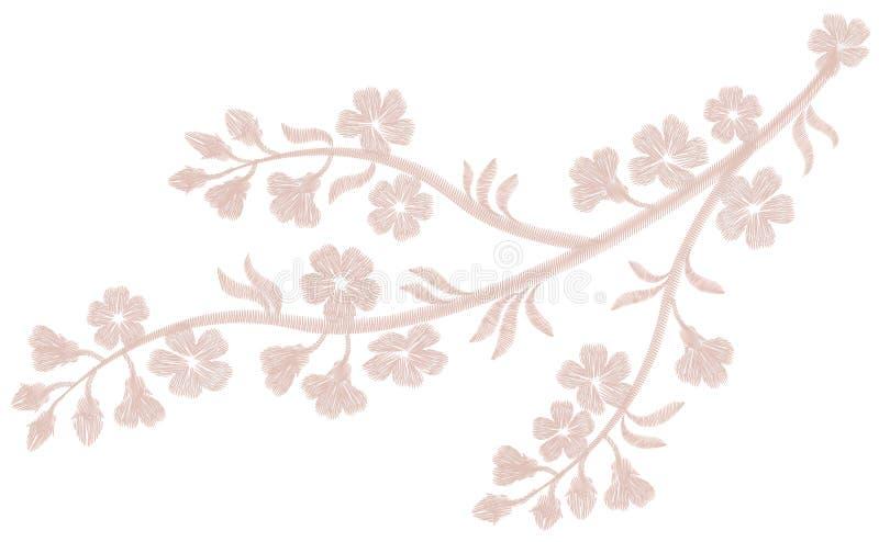 Чувствительный свет - розовая бежевая вышивка цветка Печать ткани моды вишневого цвета Сакуры Декоративная богато украшенная запл бесплатная иллюстрация