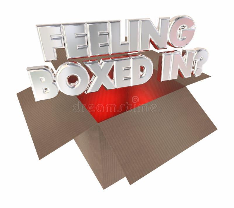 Чувство положило в коробку - в поглощенном пакете картона иллюстрация вектора