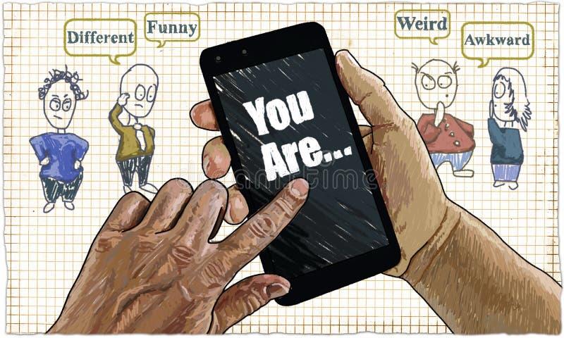 Чувство Cyberbullying, иллюстрация в классическом стиле иллюстрация штока