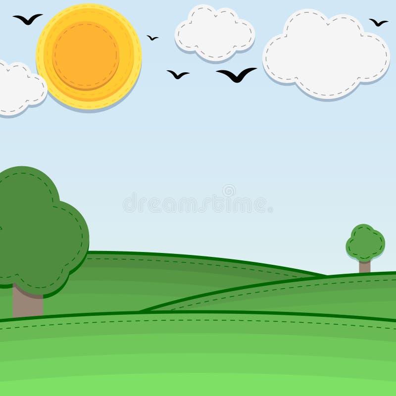 чувствуемая предпосылка солнечен иллюстрация вектора