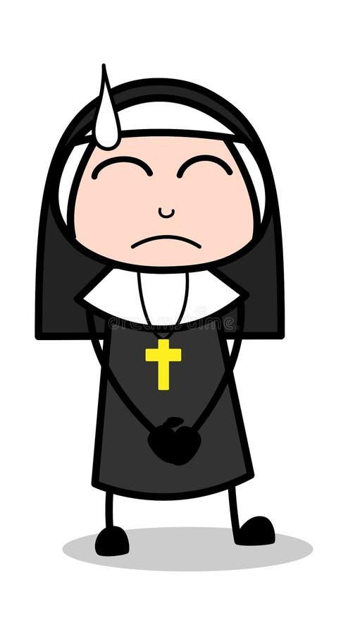 Чувствуя стыд - дама Вектор Иллюстрация монашки мультфильма иллюстрация штока