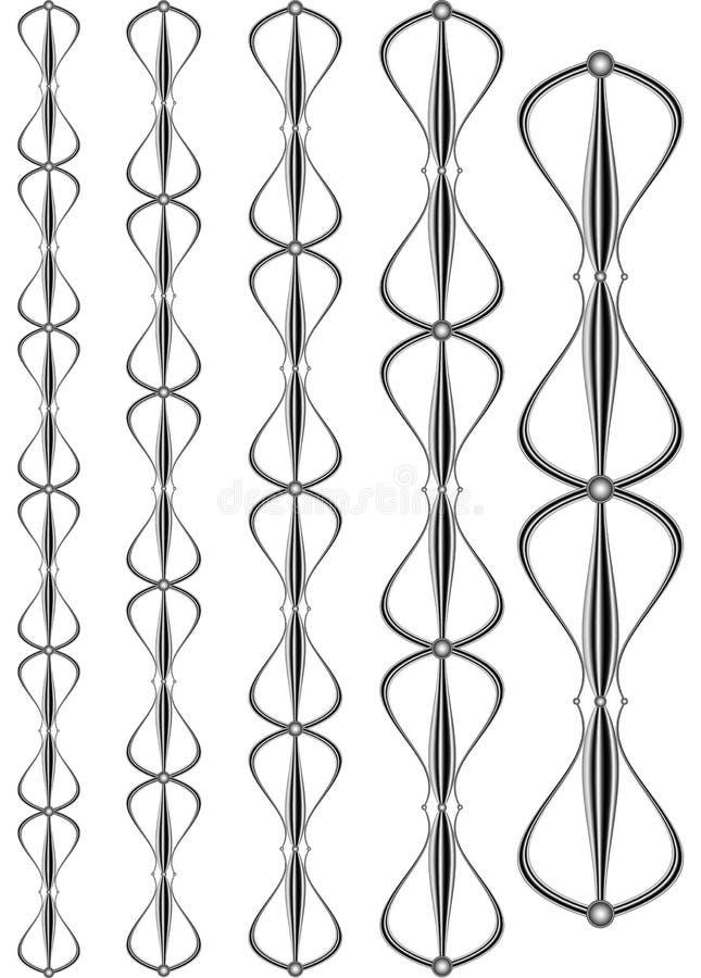 Чугунные модульные перила и загородки конец-вверх работаемого утюга для украшения, элементов металла выковал чугунные стробы иллюстрация вектора