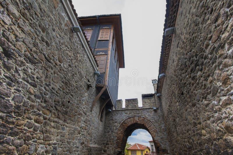 Чудесная архитектура старого городка Пловдива, который в 2019 стал столицей культуры в Европе стоковая фотография rf