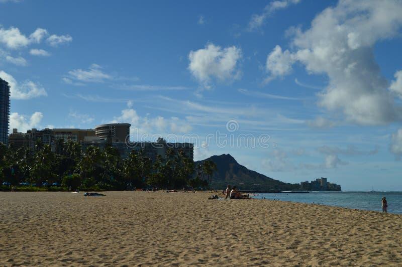 Чудесные взгляды пляжа Waikiki стоковая фотография rf