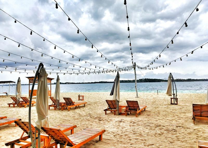 чудесный взгляд пляжа в bintan острове стоковые изображения rf