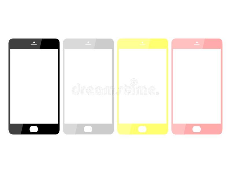 Чудесный дизайн покрашенных смартфонов на белой предпосылке иллюстрация штока