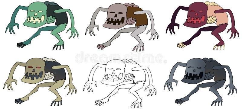 Чудовища doodle печати ghoul цвета мультфильма нарисованная рука смешного страшная бесплатная иллюстрация