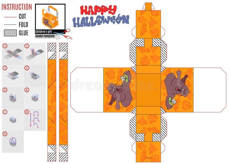 Чудовище и цветок шаблона печати подарочной коробки хеллоуина иллюстрация вектора
