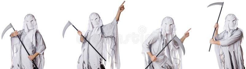 Чудовище с косой в концепции хеллоуина стоковая фотография