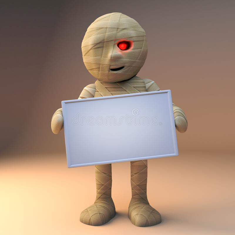 чудовище хеллоуина мумии смешного мультфильма 3d египетское держа пустой знак, иллюстрацию 3d иллюстрация вектора