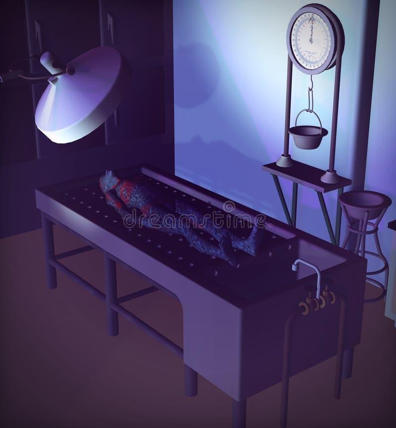 Чужеземец в комнате аутопсии иллюстрация штока
