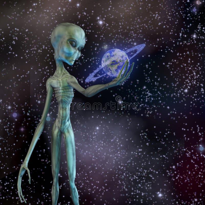 Чужеземец держа окружённую планету иллюстрация штока