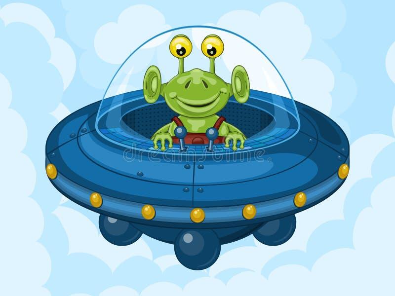 Чужеземец и UFO иллюстрация вектора