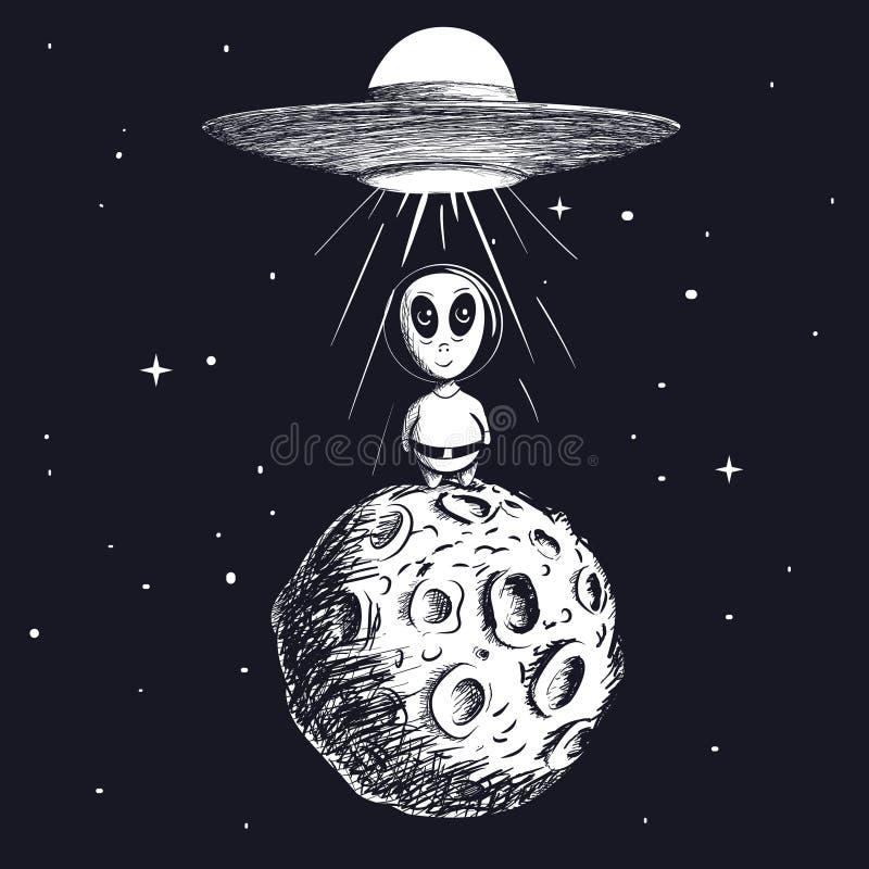 Чужеземец приземленный к луне от ufo бесплатная иллюстрация