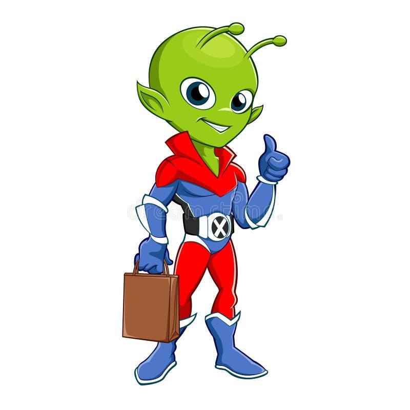 Чужеземец супергероя с сумкой иллюстрация вектора