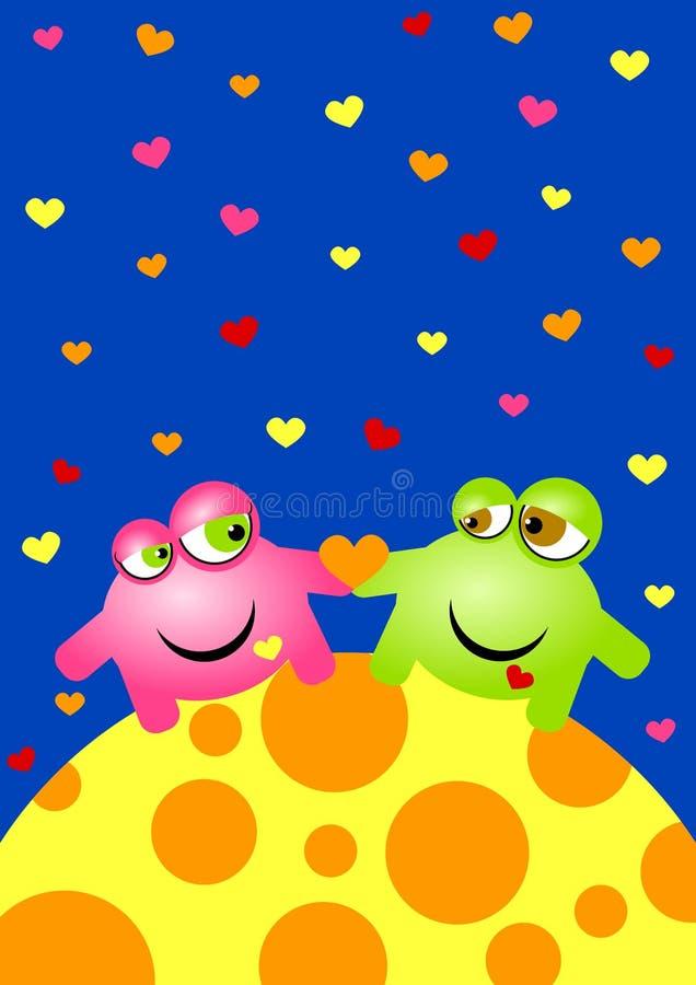 Чужеземцы в карточке дня Valentines влюбленности иллюстрация вектора