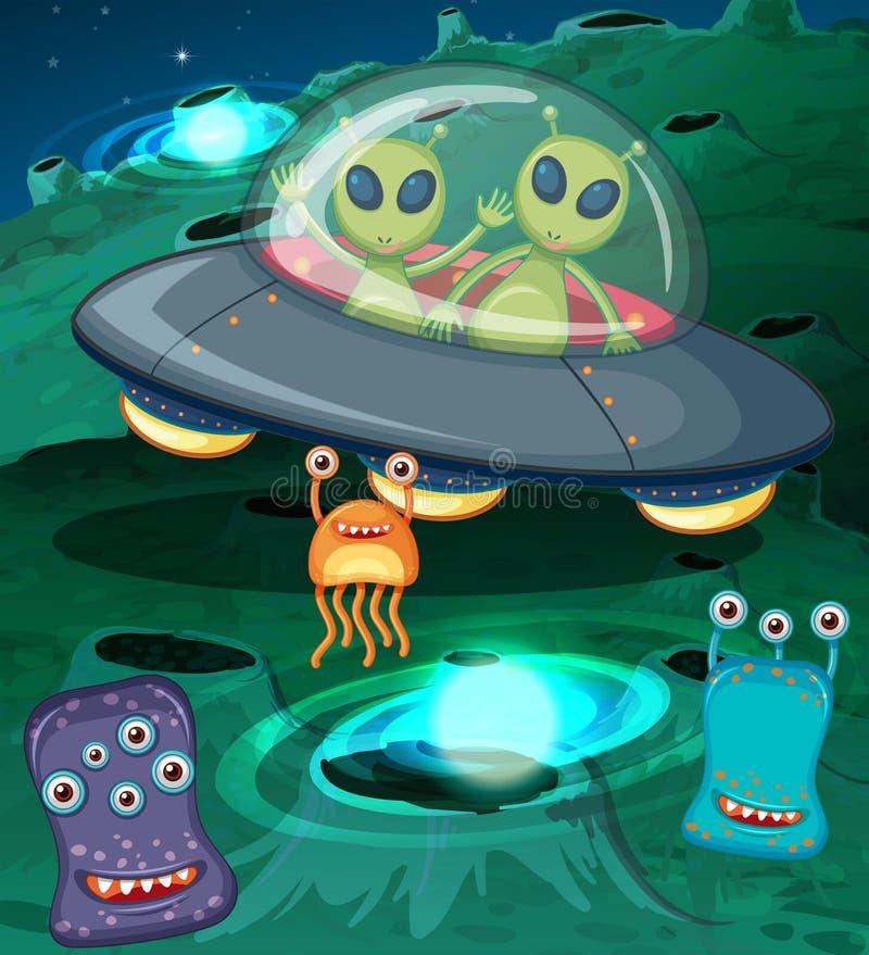 Чужеземцы в UFO в космическом пространстве бесплатная иллюстрация