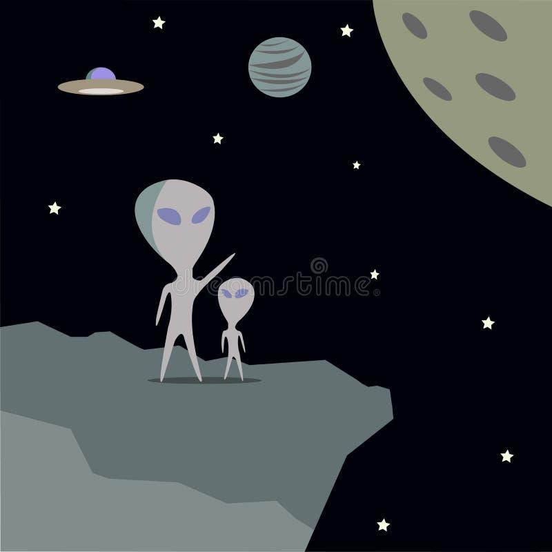 Чужеземцы идут посетить другие планеты для исследования иллюстрация штока