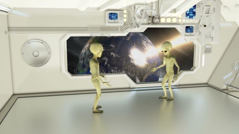 Чужеземцы на космическом корабле споря на земле планеты предпосылки взрывая стоковые фотографии rf