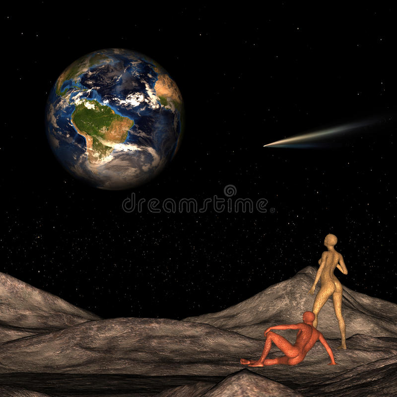 Чужеземцы на луне смотря землю иллюстрация вектора