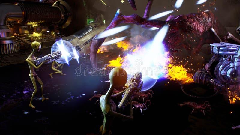 Чужеземцы против оккупанта паука Драматическая супер реалистическая концепция перевод 3d иллюстрация штока