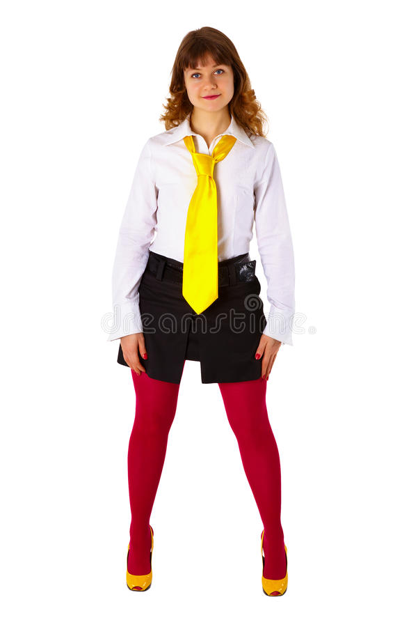 чулки девушки красные связывают желтых детенышей стоковое фото rf