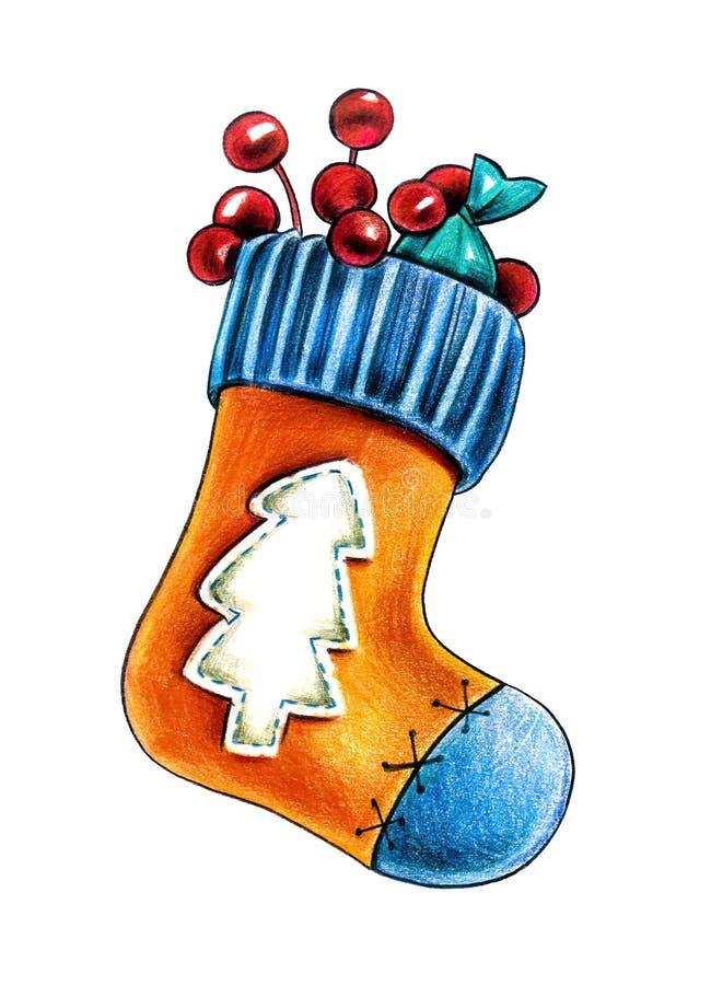 Чулок ботинка рождества с подарками на белой предпосылке иллюстрация вектора
