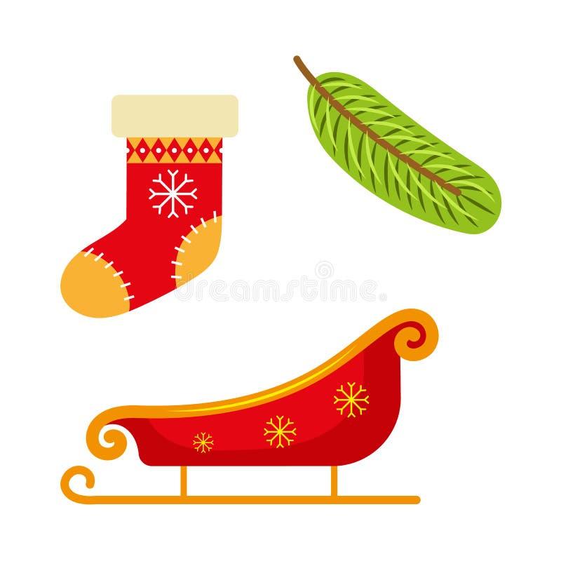 Чулок рождества, сани и ветвь ели бесплатная иллюстрация