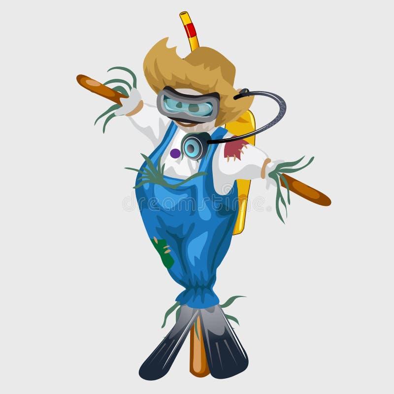 Чучело в голубых костюме и снаряжении для подводного плавания иллюстрация вектора